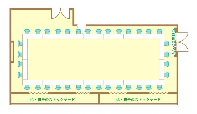 2名掛ロの字(36席)
